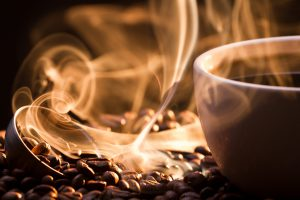 Roasting coffee beans in macro, smoke, coffee, hot